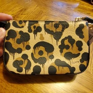 Coach Leather leopard print clutch